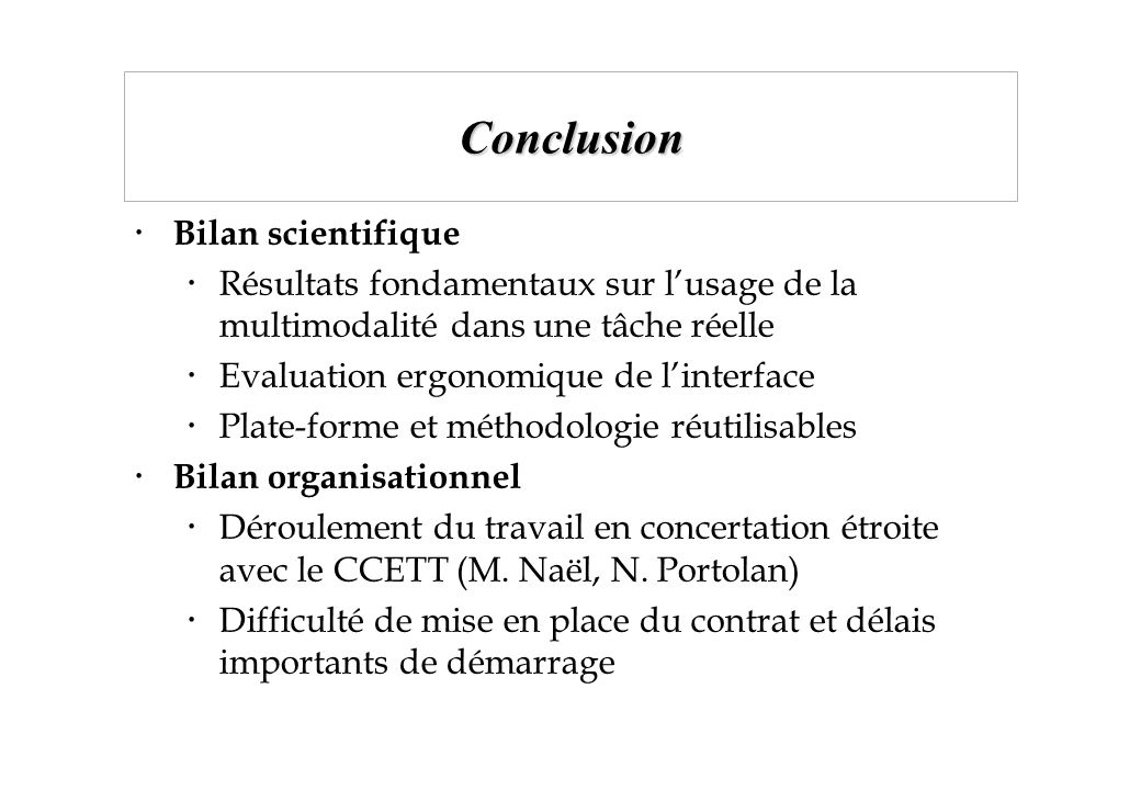 Conclusion Bilan scientifique