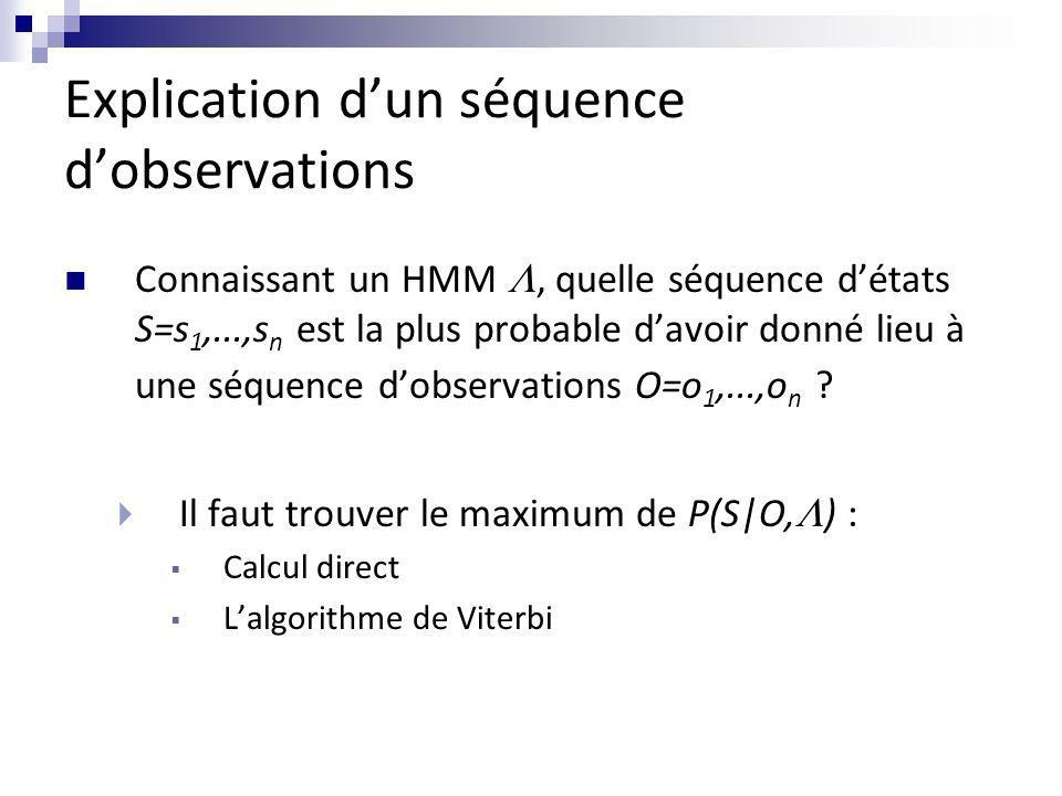 Explication d'un séquence d'observations