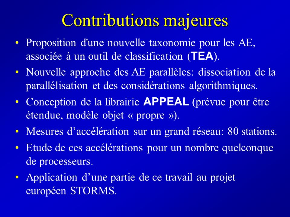 Contributions majeures