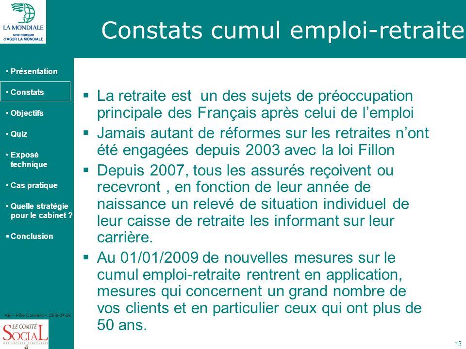 Constats cumul emploi-retraite
