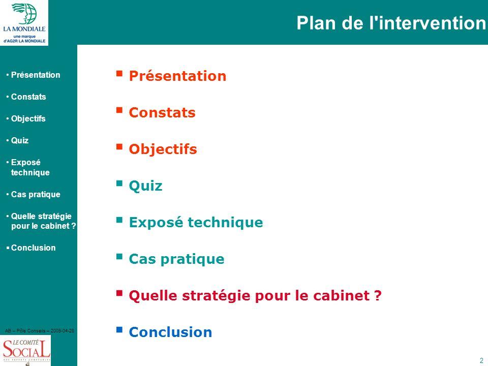 Plan de l intervention Présentation Constats Objectifs Quiz