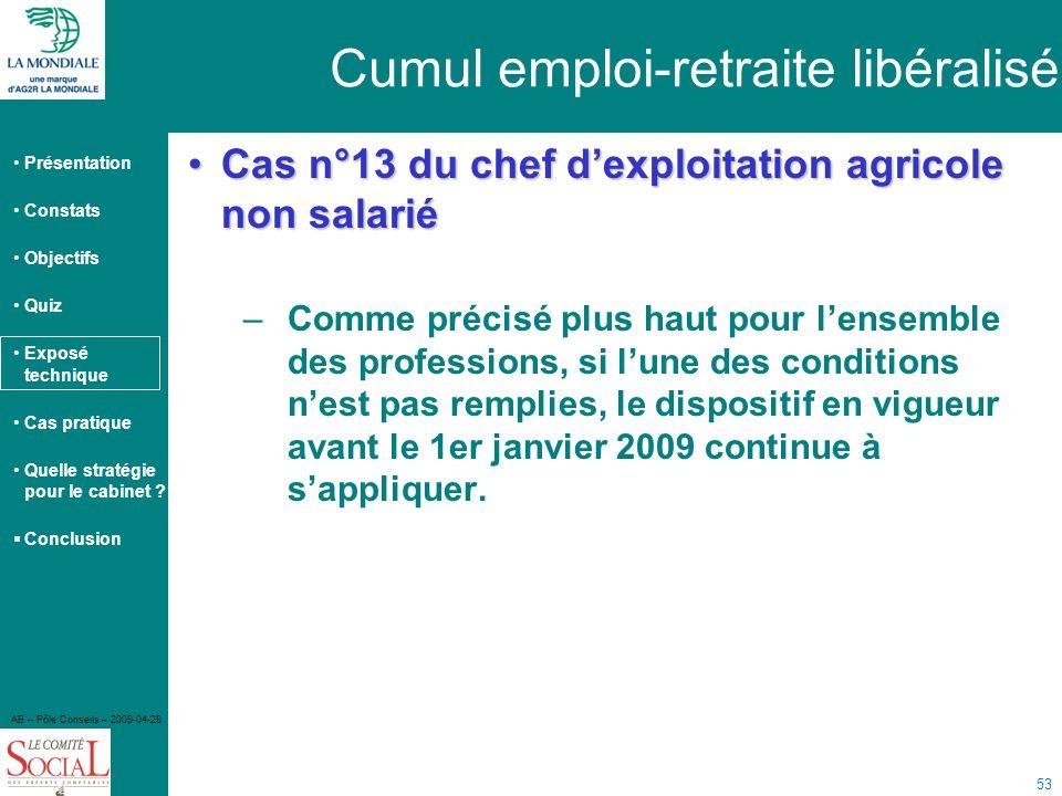 Cumul emploi-retraite libéralisé