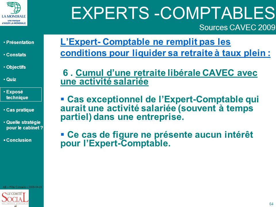 EXPERTS -COMPTABLES Sources CAVEC 2009