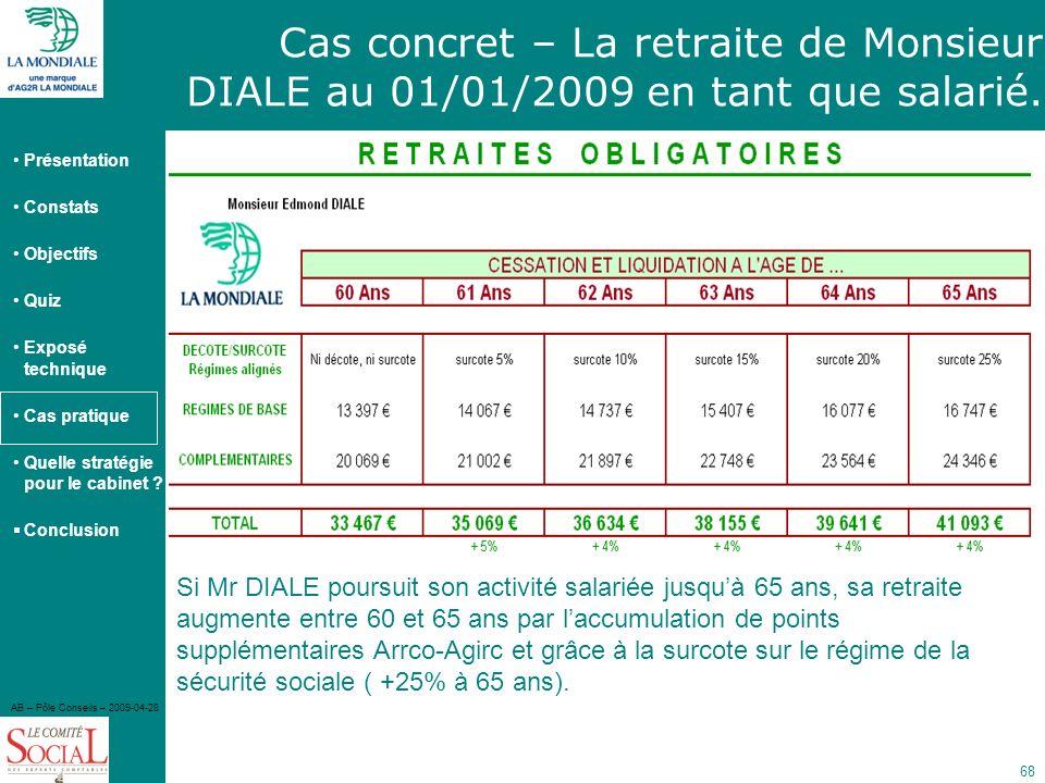 Cas concret – La retraite de Monsieur DIALE au 01/01/2009 en tant que salarié.