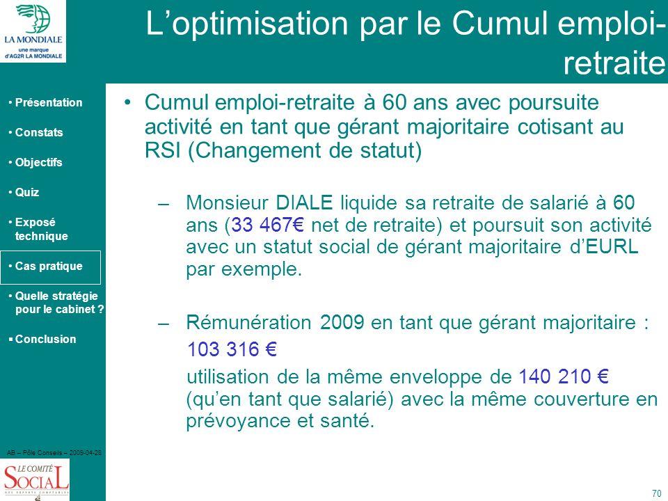 L'optimisation par le Cumul emploi-retraite