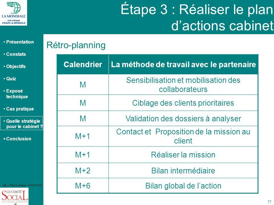Étape 3 : Réaliser le plan d'actions cabinet