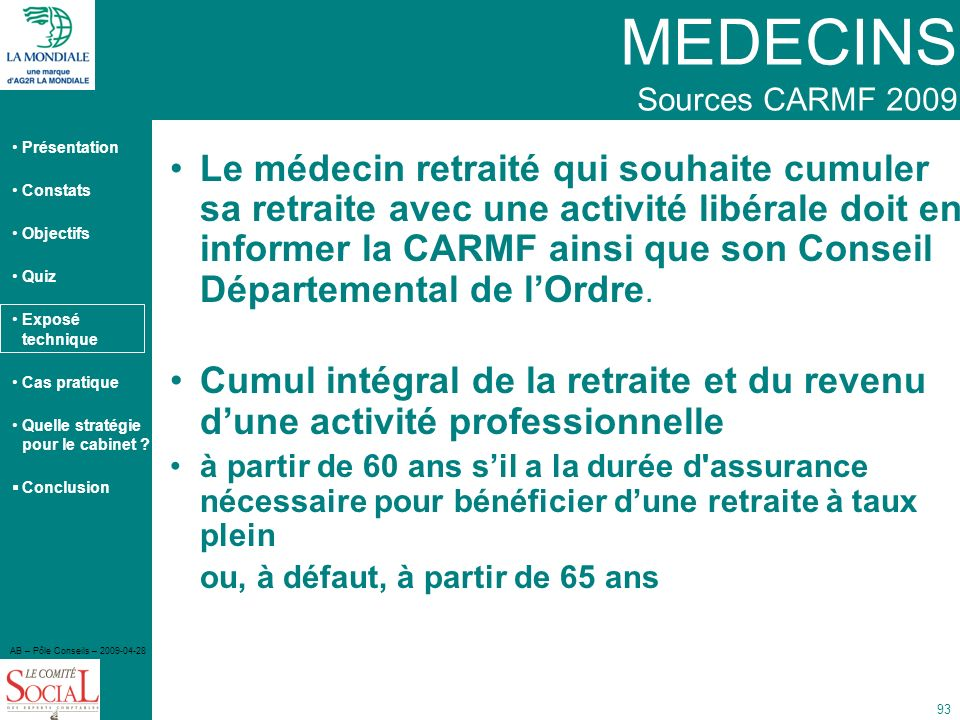 MEDECINS Sources CARMF 2009