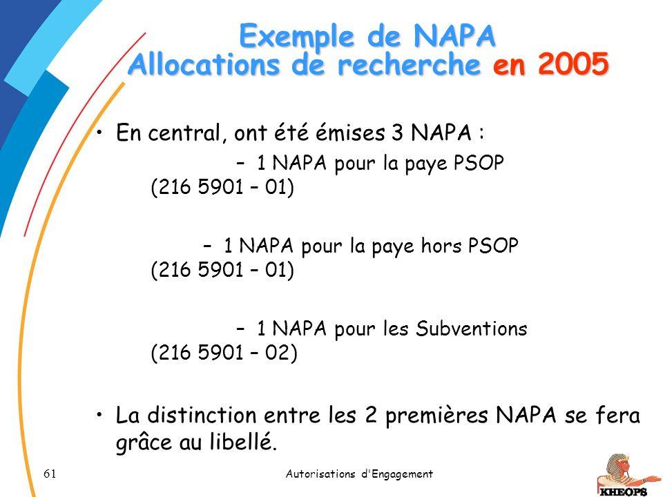 Exemple de NAPA Allocations de recherche en 2005