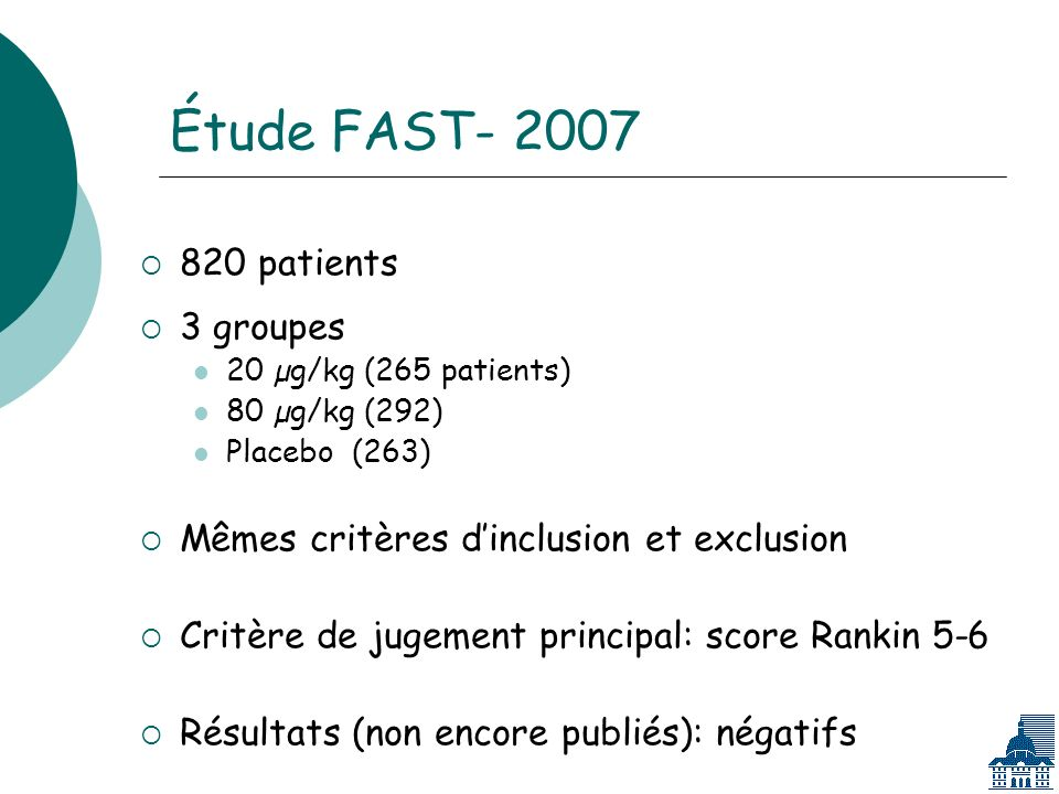 Étude FAST- 2007 820 patients 3 groupes