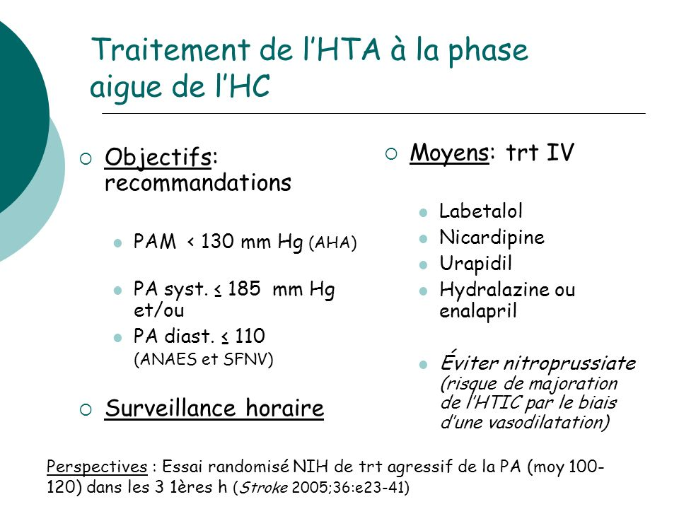 Traitement de l'HTA à la phase aigue de l'HC