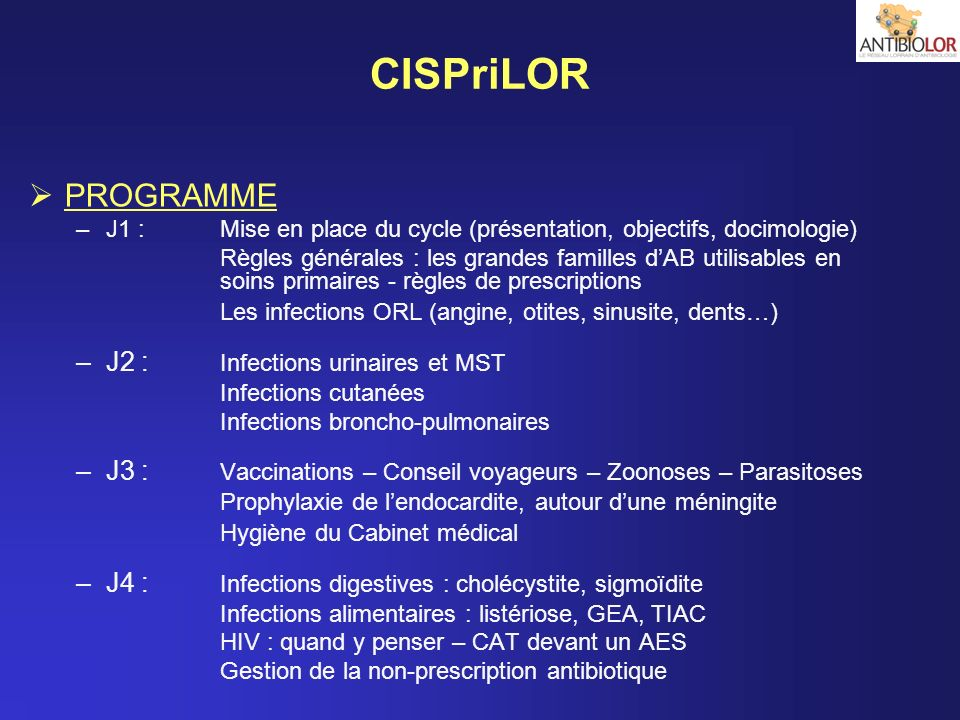 CISPriLOR PROGRAMME J2 : Infections urinaires et MST