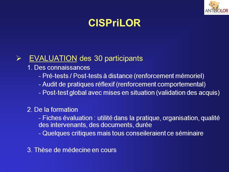 CISPriLOR EVALUATION des 30 participants 1. Des connaissances