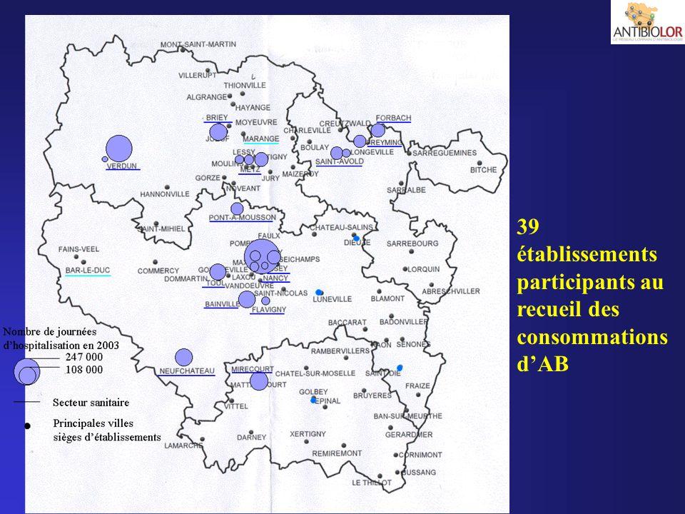 39 établissements participants au recueil des consommations d'AB