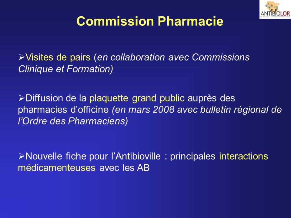 Commission Pharmacie Visites de pairs (en collaboration avec Commissions Clinique et Formation)