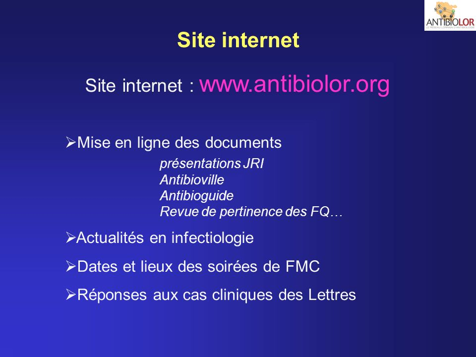 Site internet : www.antibiolor.org