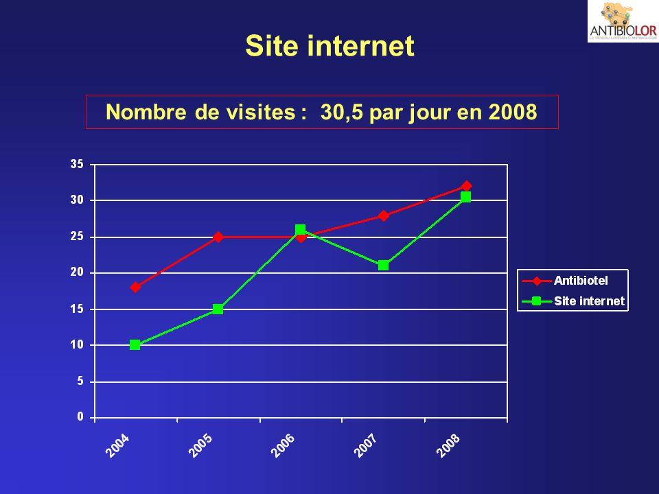 Nombre de visites : 30,5 par jour en 2008