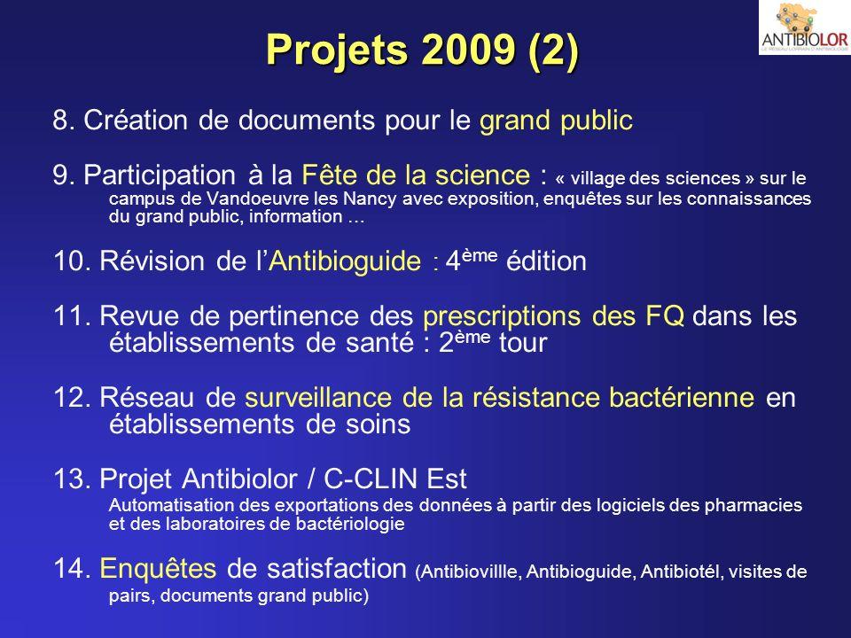 Projets 2009 (2) 8. Création de documents pour le grand public