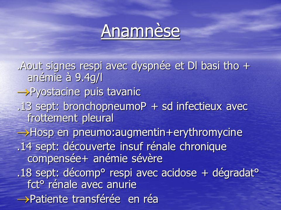 Anamnèse .Aout signes respi avec dyspnée et Dl basi tho + anémie à 9.4g/l. Pyostacine puis tavanic.