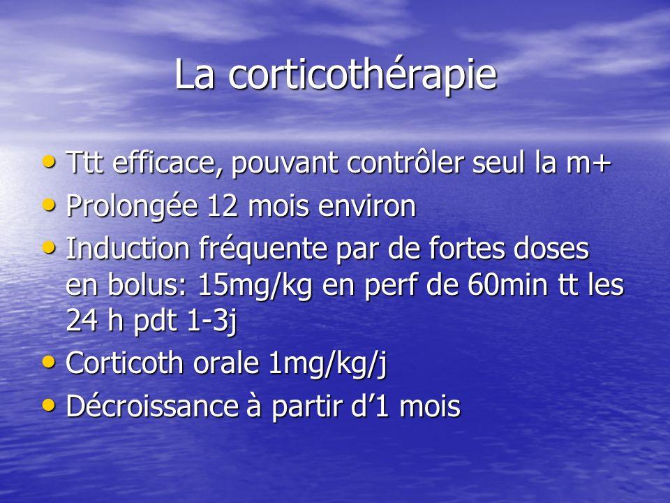 La corticothérapie Ttt efficace, pouvant contrôler seul la m+