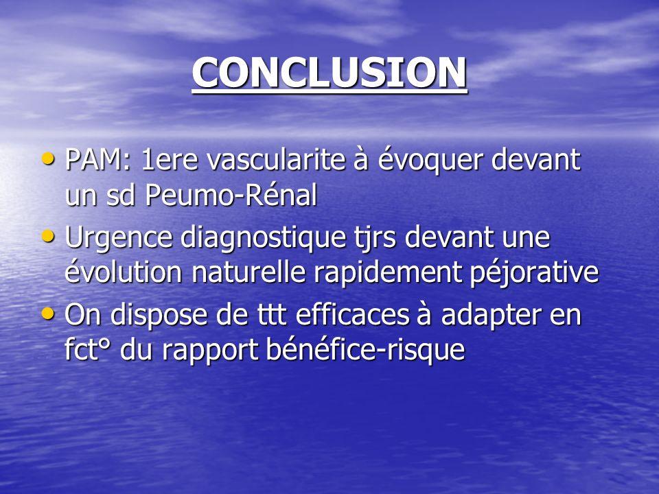 CONCLUSION PAM: 1ere vascularite à évoquer devant un sd Peumo-Rénal