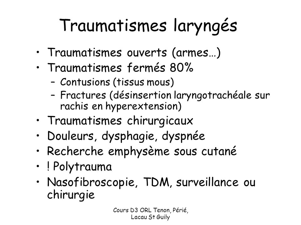 Traumatismes laryngés