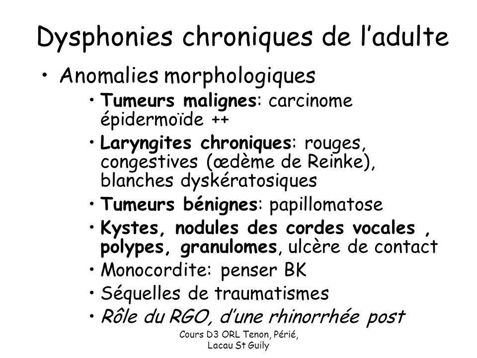 Dysphonies chroniques de l'adulte