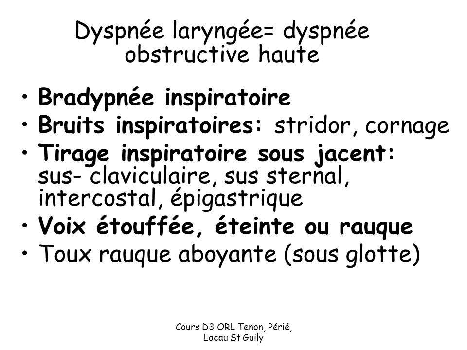 Dyspnée laryngée= dyspnée obstructive haute