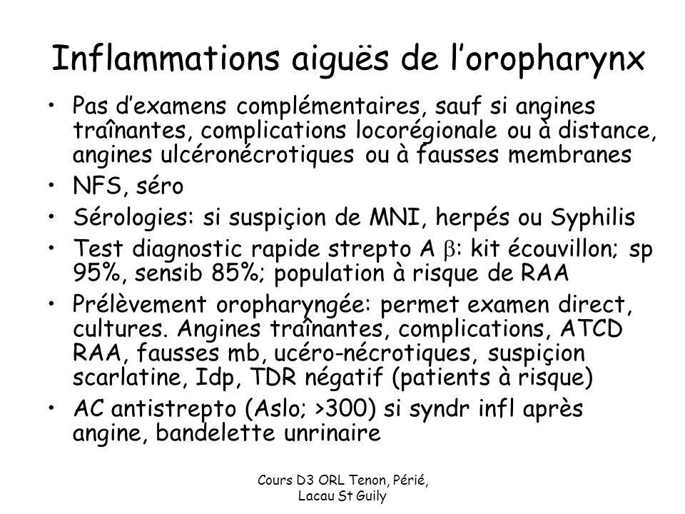 Inflammations aiguës de l'oropharynx