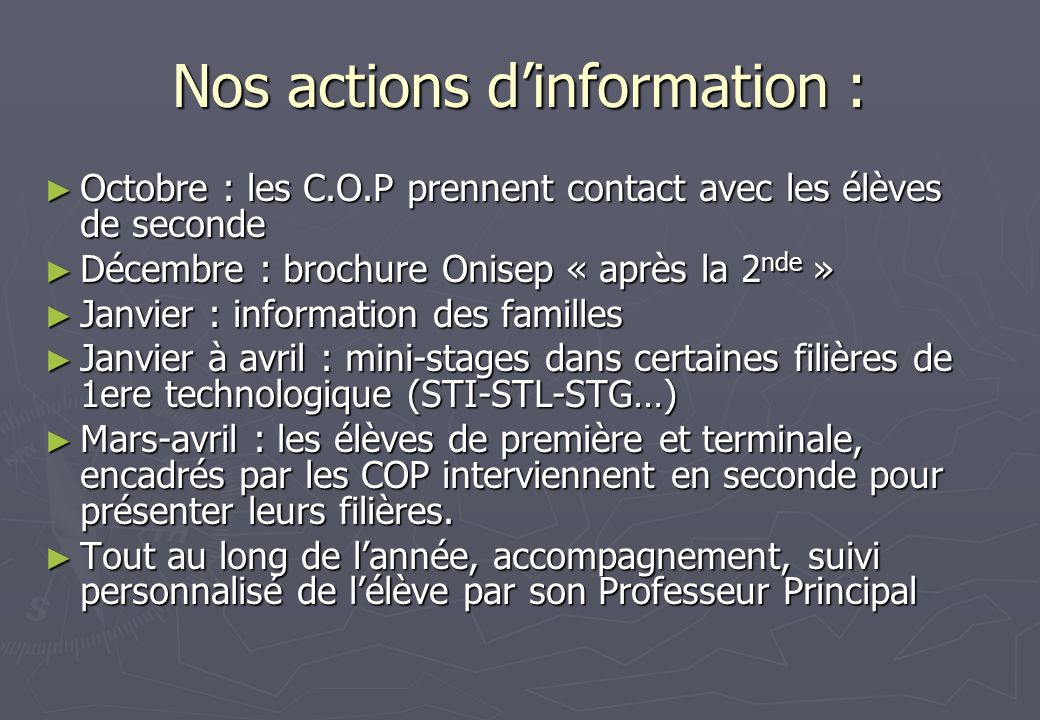 Nos actions d'information :