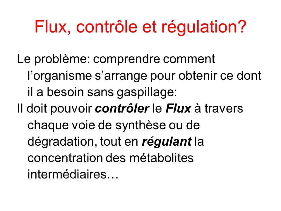 Flux, contrôle et régulation