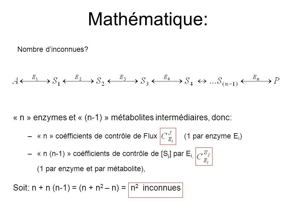 Mathématique: Nombre d'inconnues « n » enzymes et « (n-1) » métabolites intermédiaires, donc: