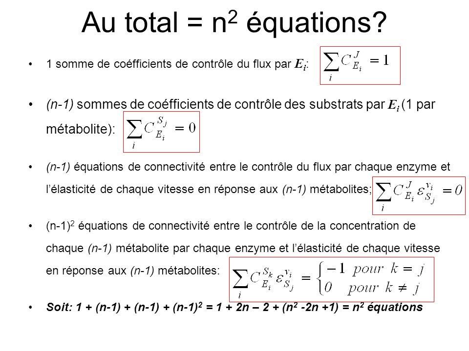 Au total = n2 équations 1 somme de coéfficients de contrôle du flux par Ei: