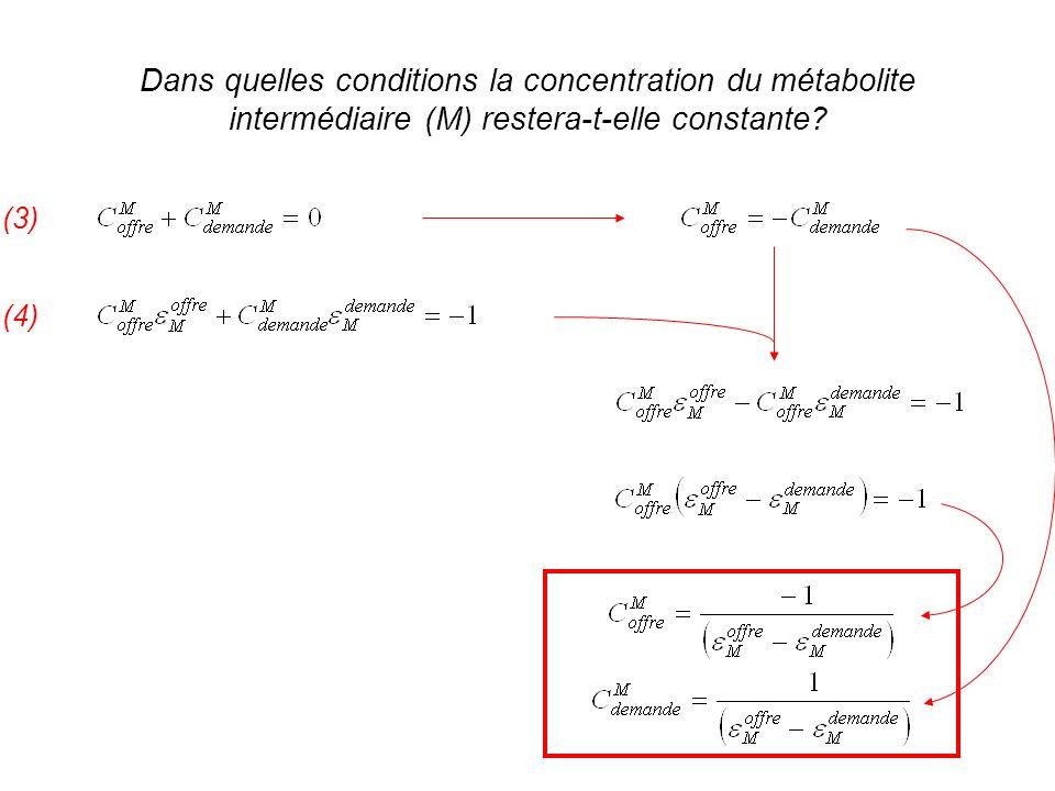 Dans quelles conditions la concentration du métabolite intermédiaire (M) restera-t-elle constante