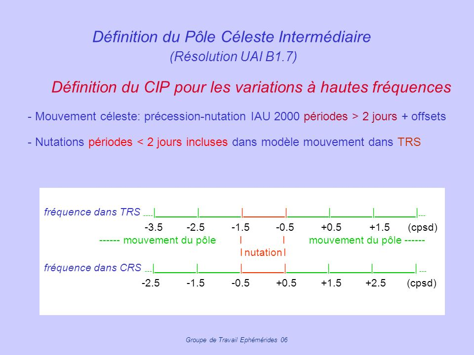 Définition du Pôle Céleste Intermédiaire (Résolution UAI B1.7)