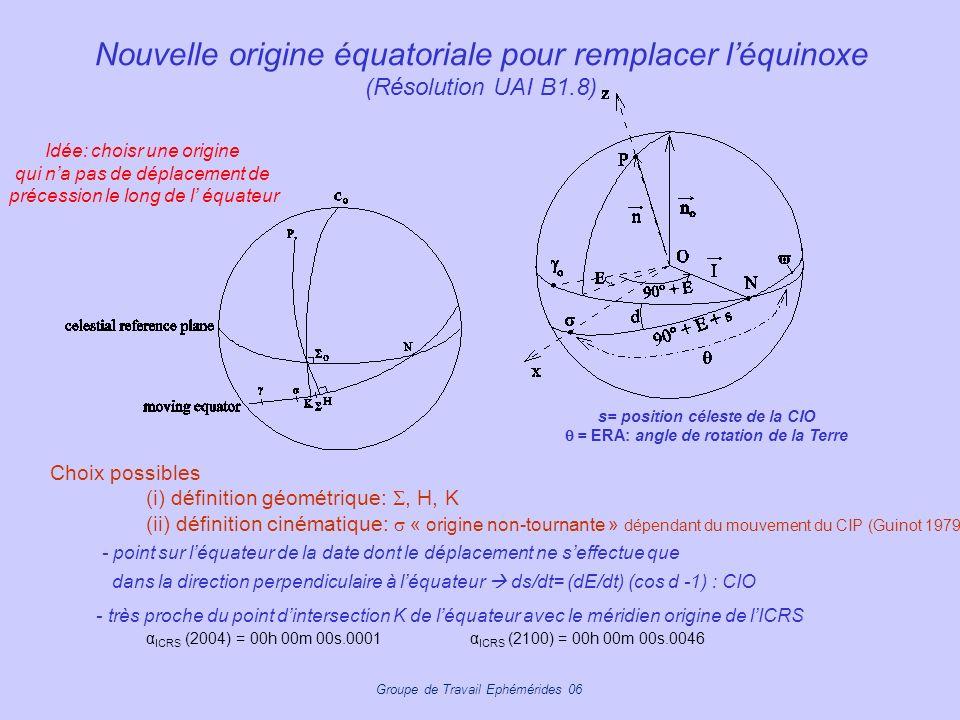 s= position céleste de la CIO q = ERA: angle de rotation de la Terre