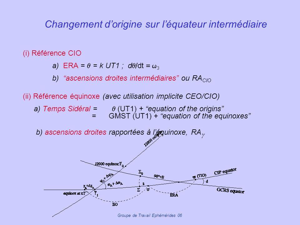 Changement d'origine sur l'équateur intermédiaire