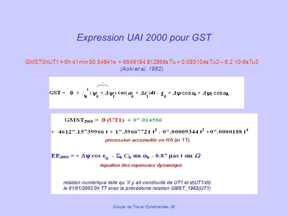 Expression UAI 2000 pour GST
