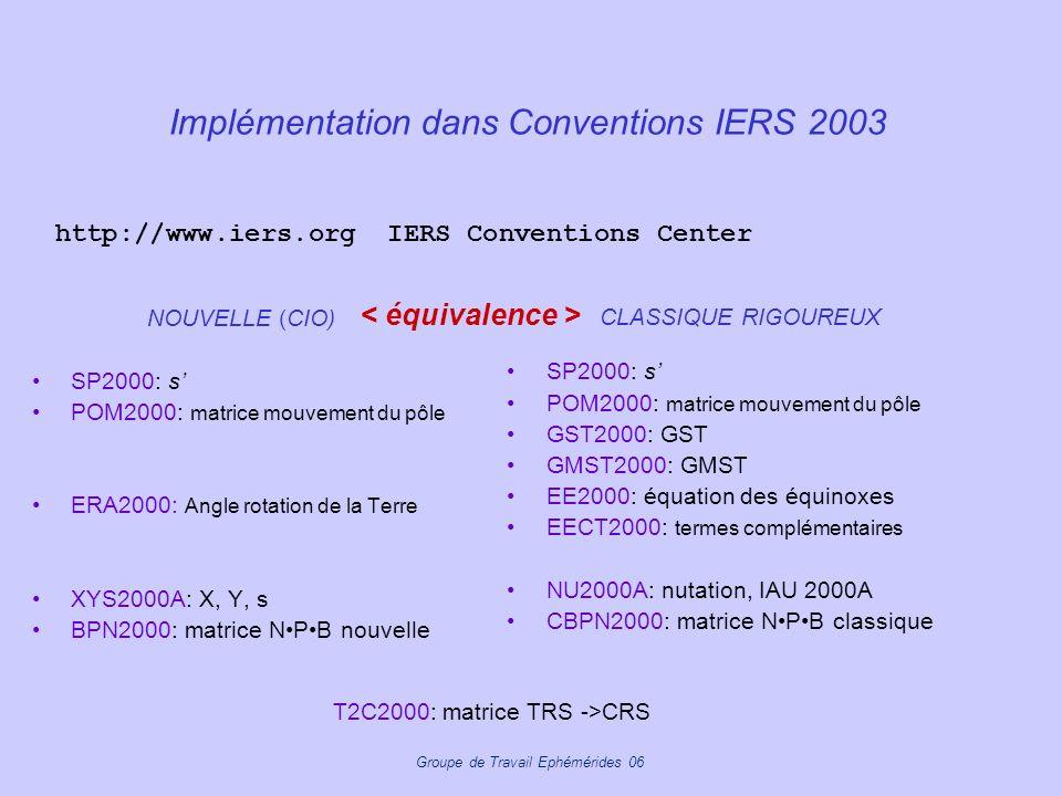 Implémentation dans Conventions IERS 2003