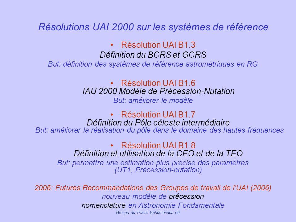Résolutions UAI 2000 sur les systèmes de référence