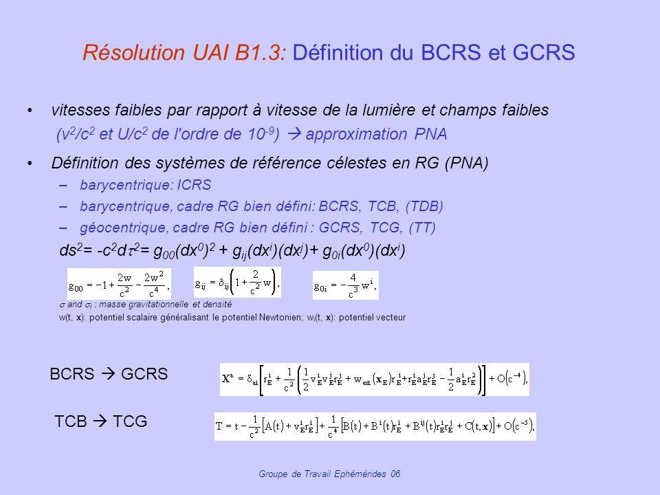 Résolution UAI B1.3: Définition du BCRS et GCRS