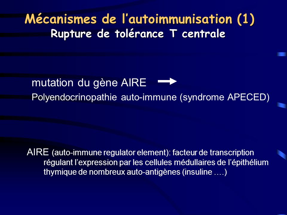 Mécanismes de l'autoimmunisation (1) Rupture de tolérance T centrale