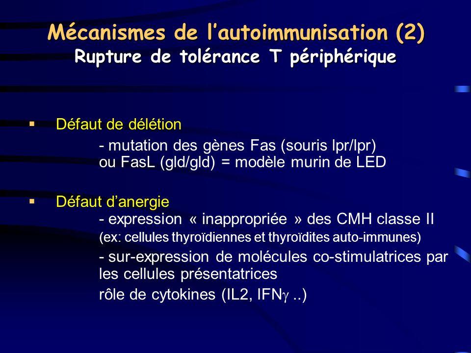 Mécanismes de l'autoimmunisation (2) Rupture de tolérance T périphérique