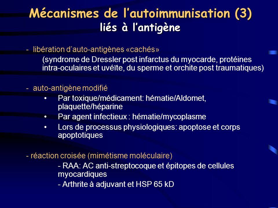 Mécanismes de l'autoimmunisation (3) liés à l'antigène