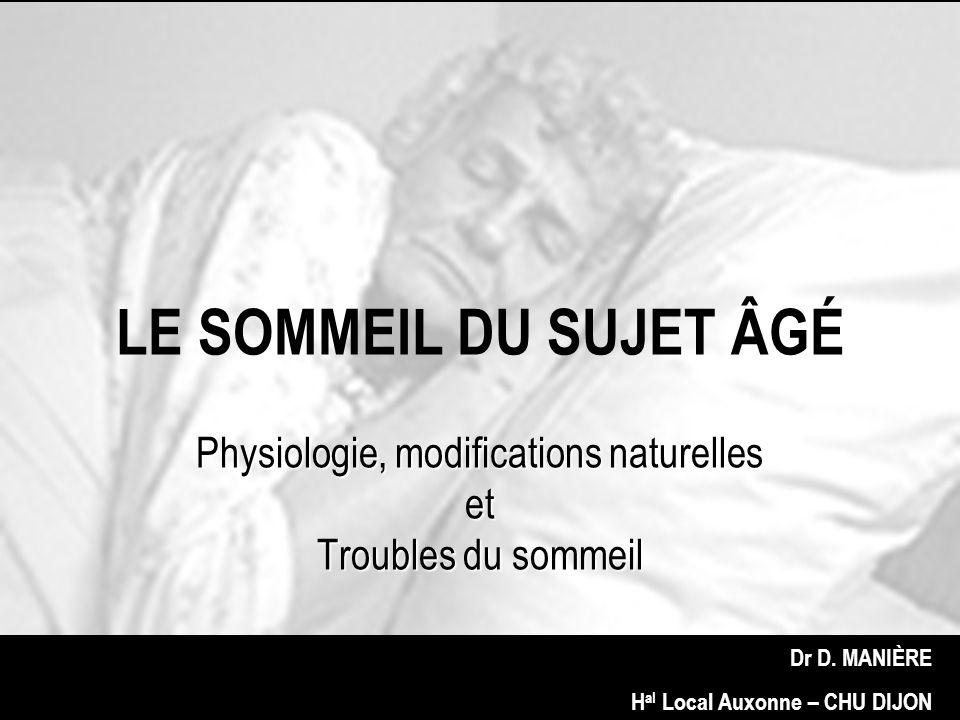Physiologie, modifications naturelles et Troubles du sommeil