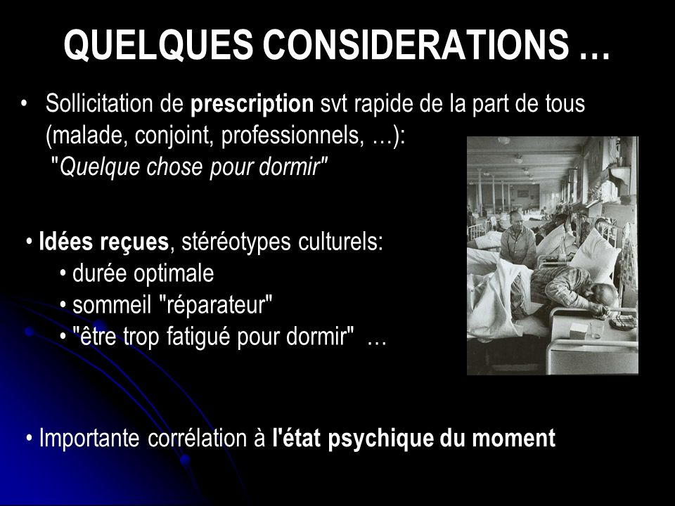 QUELQUES CONSIDERATIONS …