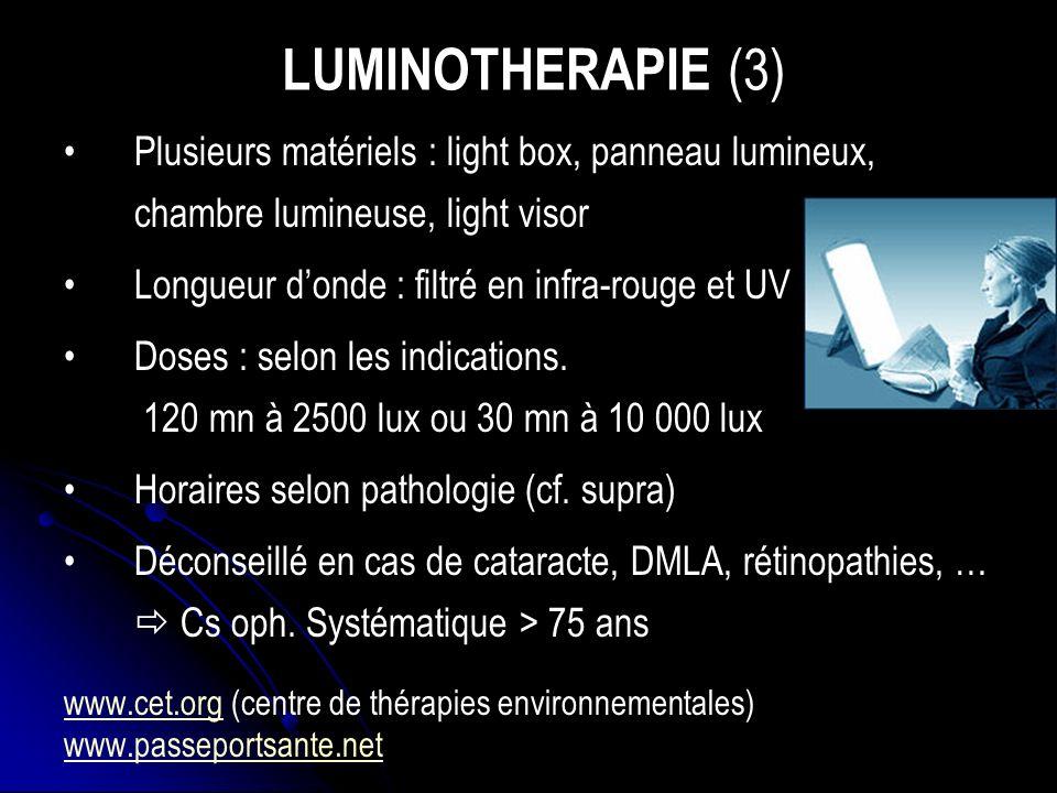 LUMINOTHERAPIE (3) Plusieurs matériels : light box, panneau lumineux, chambre lumineuse, light visor.