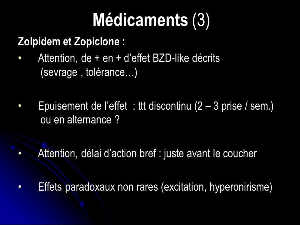 Médicaments (3) Zolpidem et Zopiclone :