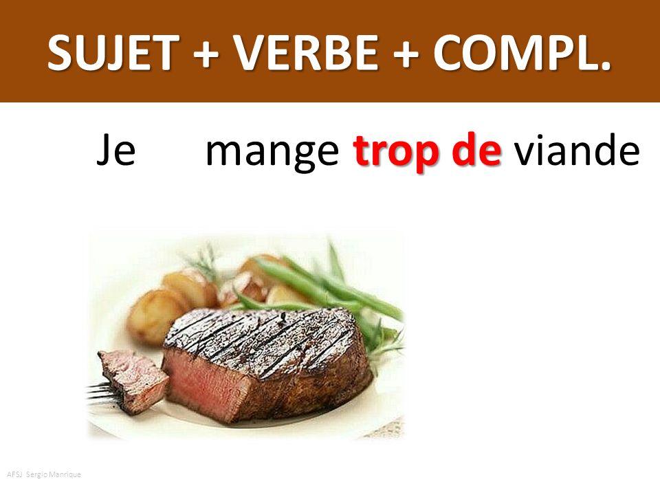 SUJET + VERBE + COMPL. Je mange trop de viande AFSJ Sergio Manrique