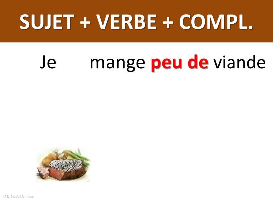 SUJET + VERBE + COMPL. Je mange peu de viande AFSJ Sergio Manrique
