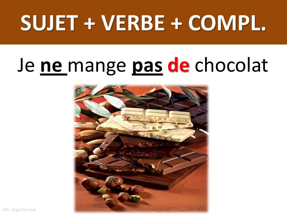 SUJET + VERBE + COMPL. Je ne mange pas de chocolat